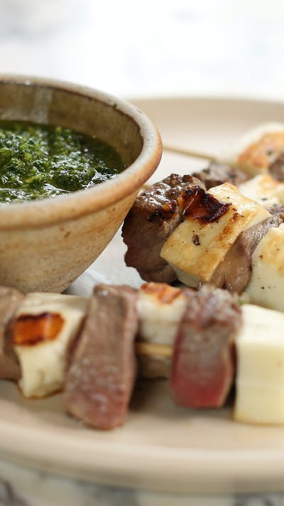 Meat/Halloumi Skewers with Chimichurri