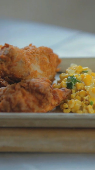 Superman Fried Chicken and Corn
