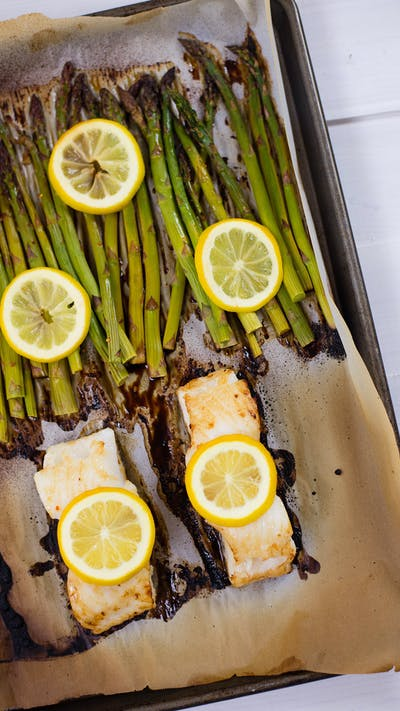 Sea Bass, Asparagus & Lemon One Sheet Pan Meal