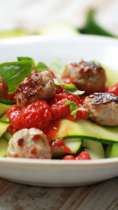 Courgette Paperdelle with Sausage Balls and Tomato Sauce