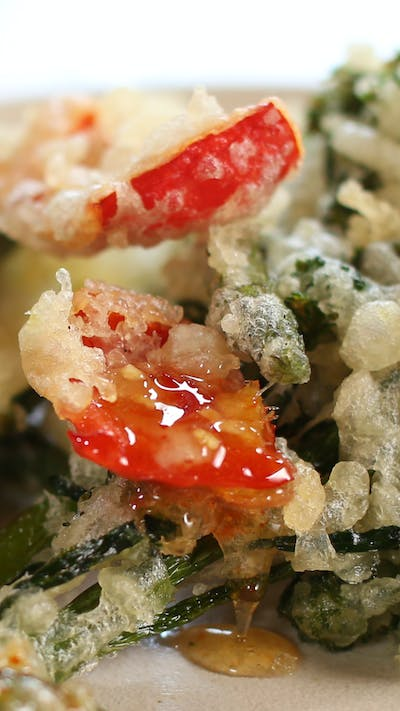 Tempura Vegetables with Sweet Chilli and Garlic Sauce