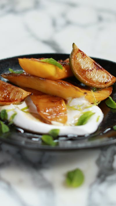 Charred Mangos and Lime with Coconut Yoghurt