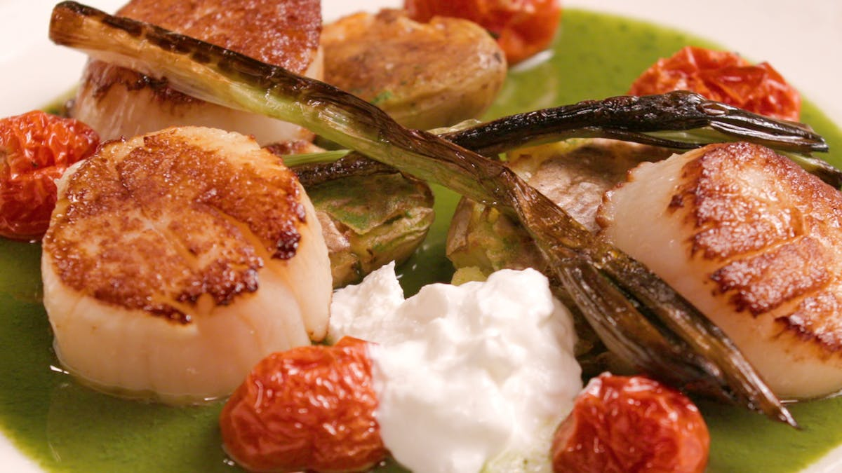 Seared Scallops with Smashed Crispy Fingerlings, Roasted Tomatoes, Herbed Sauce Image