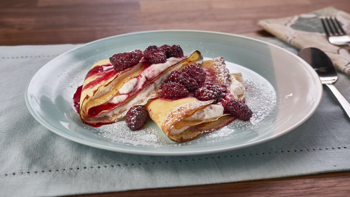 Cornmeal Crepes with Blackberries and Orange Cream Image