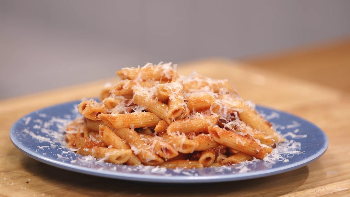 Penne Pasta With Tomato Sauce & Bacon Image