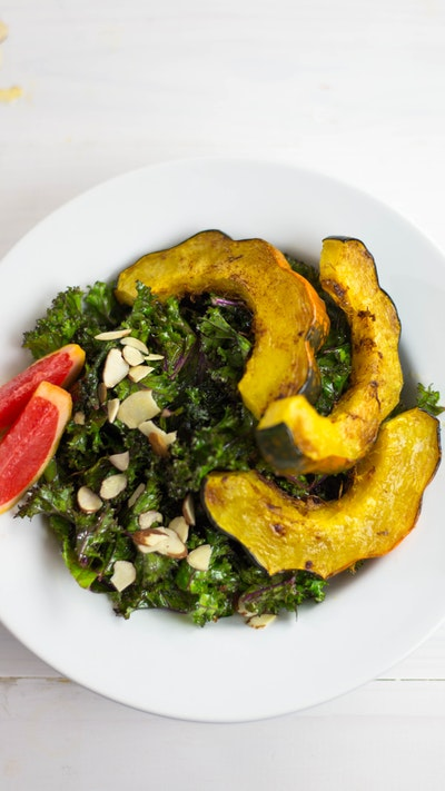 Roasted Acorn Squash & Kale Salad