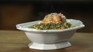 CREAMED GREENS SMOKED HAM HORIZONTAL THUMB