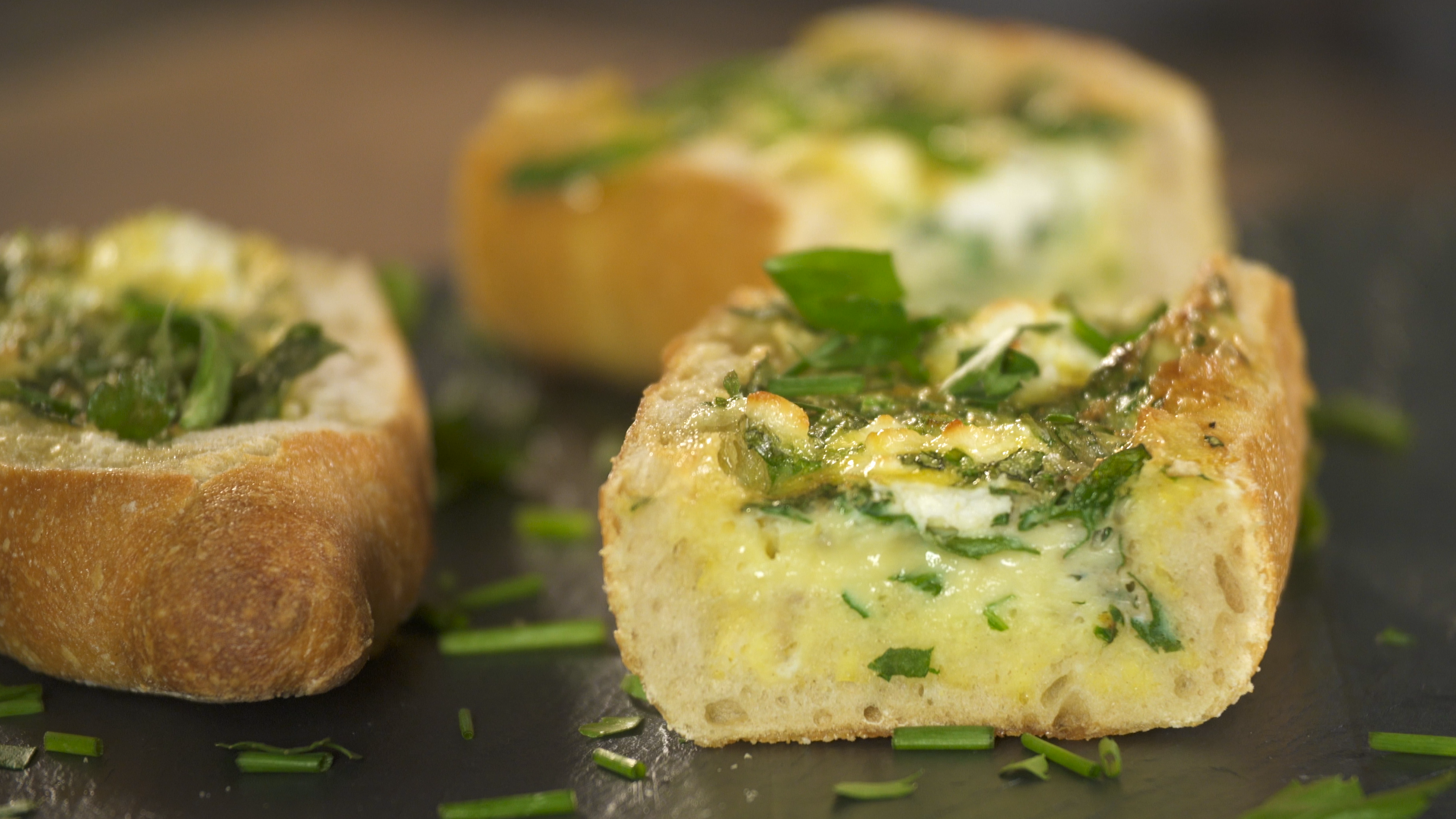Herb And Goat Cheese Baked Egg Boats Recipe