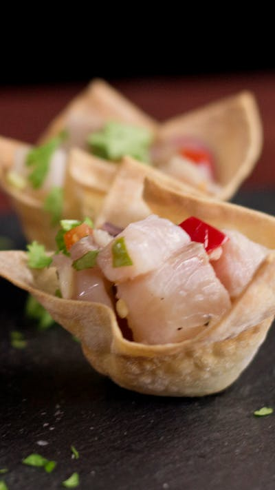 Ceviche Wonton Cups Hungry Af Tastemade