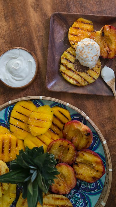 Grilled Fruit with Coconut Whipped Cream