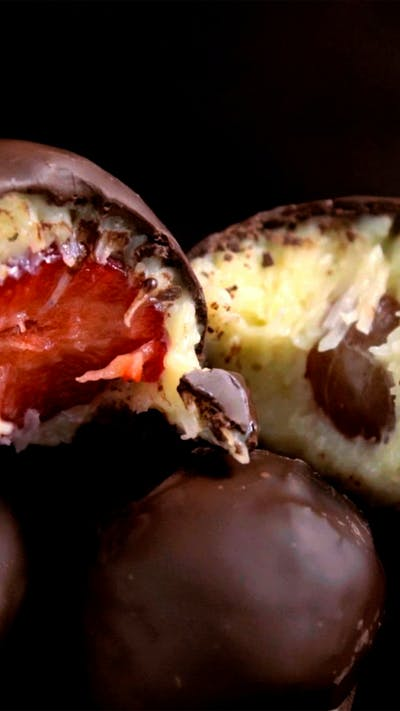 Chocolate Candies With Grape & Strawberry