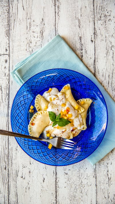 Peaches and Cream Brown Rice Ravioli