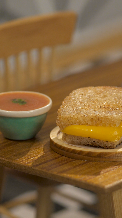 Tiny Grilled Cheese and Tomato Soup
