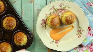 Leek Muffins With Red Pepper Dressing