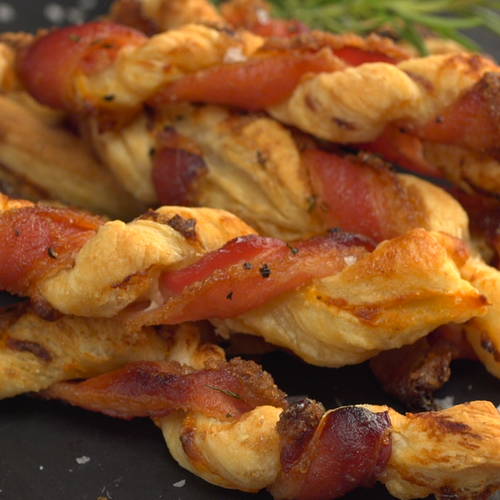 In fact, we used a spicy pepper jack cheese and some finely minced jalapeño pepper in our Puff Pastry Bacon Twists – giving this snack a gentle heat that hits after the initial salty-sweet crunch, plus coriander and cumin lend an additional distinctive savory flavor.
