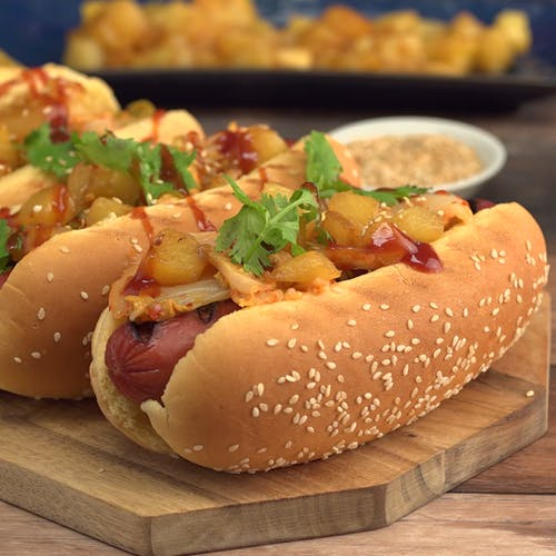 Diy Korean Bbq Sauce: Kimchi Dogs With Caramelized Pineapple ~ Recipe