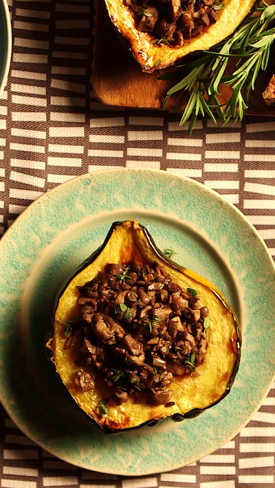 Lentil and Mushroom-Stuffed Acorn Squash
