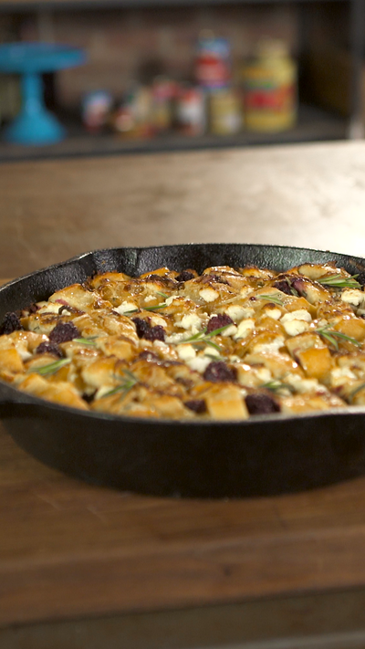 Savory Bread Pudding with Blackberries, Onions and Goat Cheese