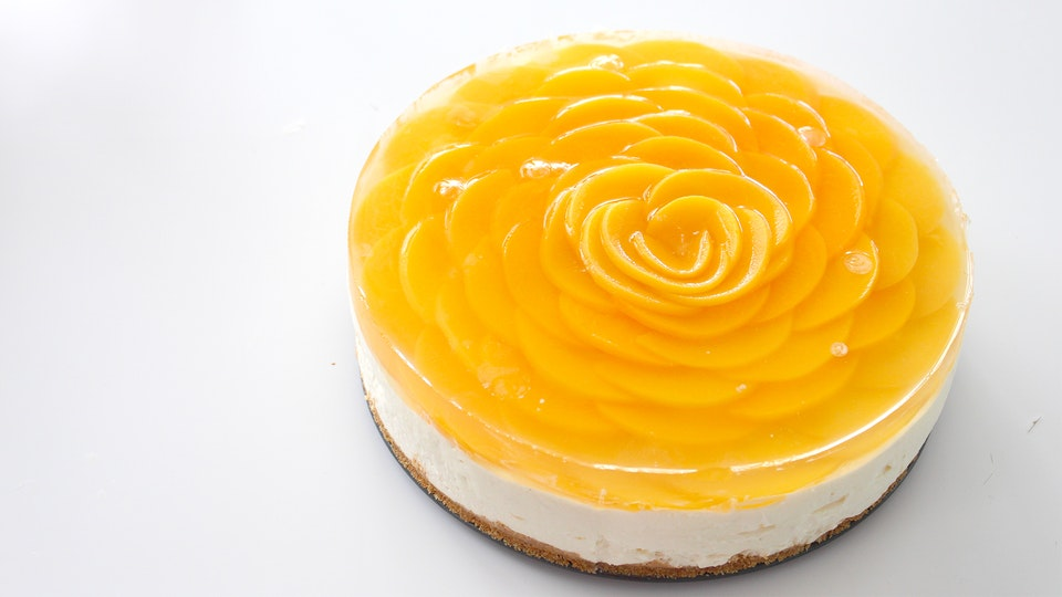 Cake With Cheese Cake Layer And Jelly Top